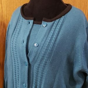 Bedford fair vintage nwot teal sweater set 2 piece